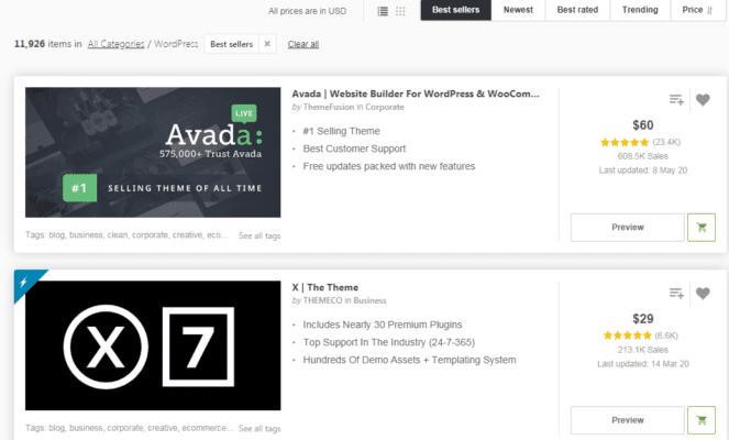 Avada đứng top #1 về lượt tải