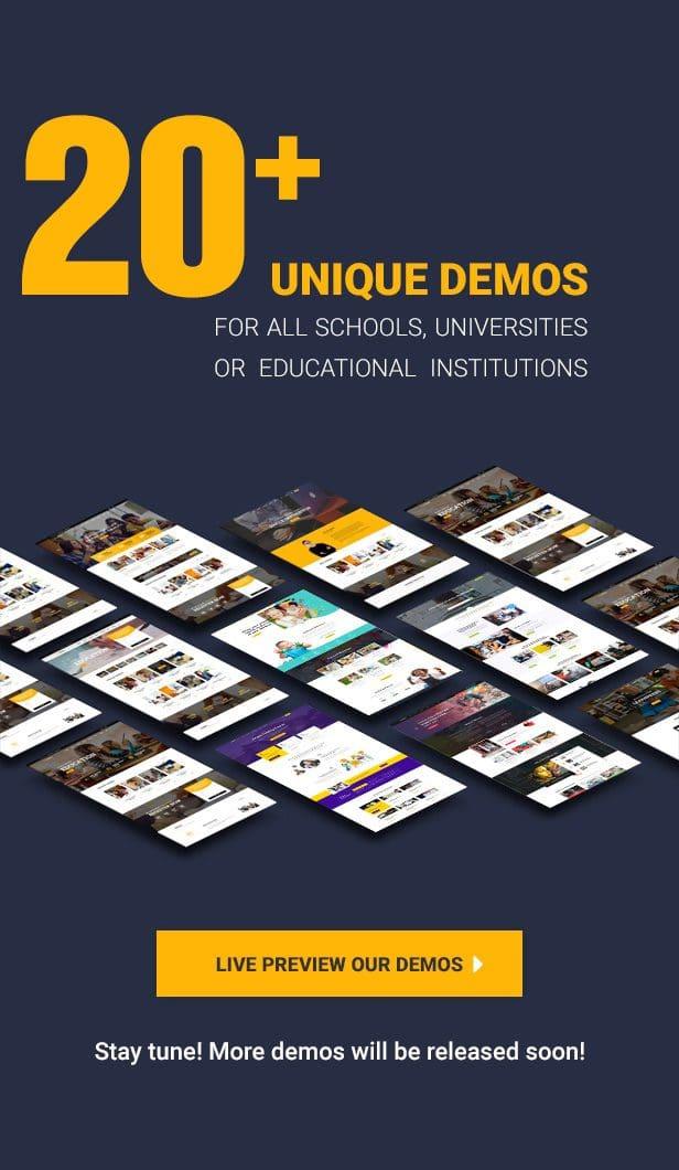 Hơn 20 demo chuyên nghiệp đến từ Eduma Theme
